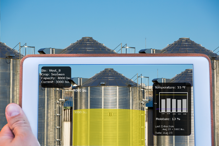 Grain bins showing augmented reality in agriculture or mobile machines